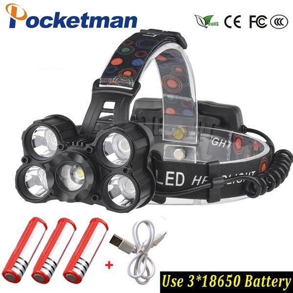 Super bright 30000LM T6x5 Led Flashlight use 3x 18650 batteyr Waterproof LED Headlamp ZOOM Headlight Fishing light