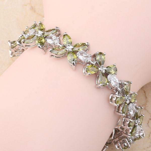 Beautiful Flower Green Peridot White CZ 925 Sterling Silver For Women Link Chain Bracelet 6 - 7 inch L10159