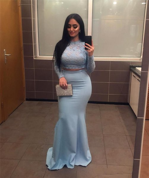 Zwei Stücke Long Sleeves Spitze Top Mermaid Prom Kleider 2019 Plus Size Vintage Spitze Schwarz Mädchen Afrikanische Formale Abend Party Kleider Günstige
