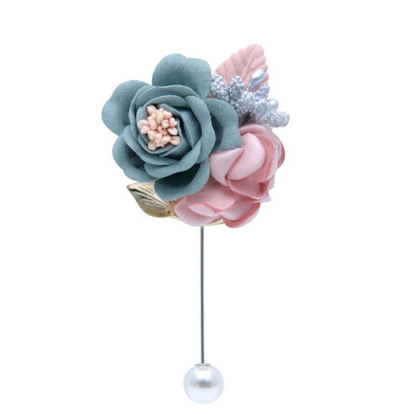 Wedding Lapel Flower Bride Groom Event Party Men Boutonniere Groomsmen Pin For Man Suit Pink And Gray