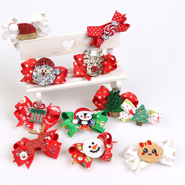 2pcs/lot 3 inch Cute Hair Bows Grosgrain Ribbon Christmas Printed Snowman Covered Hairpins Children Hair Clips Accessories