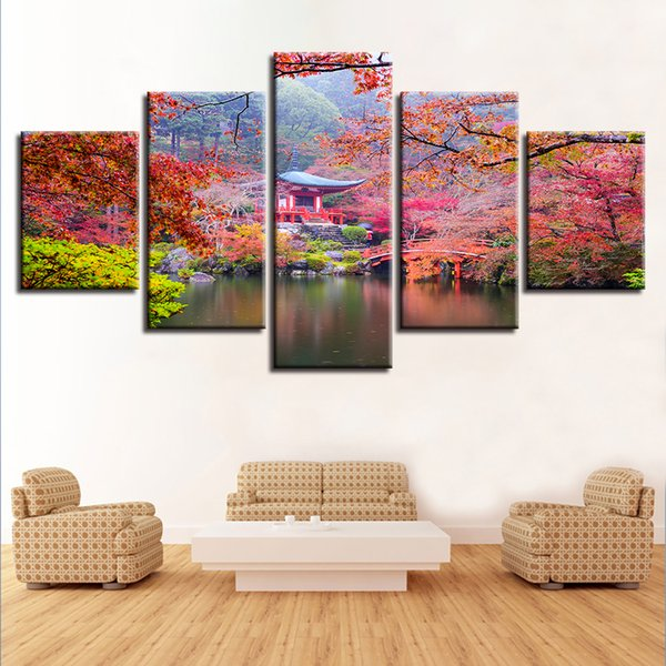 Retro Beautiful Landscape Pictures 5 Pieces Pavilion Red Trees Lake Painting Modular Canvas Printed Wall Art Living Room Decor