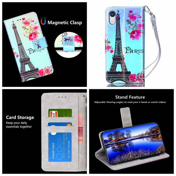 Custodia a Portafoglio in Pelle Blu-ray per LG G Stylus 3 Stylo 4 K8 K10 2018 X Stlye Flower Torre Eiffel Giraffe Moon ID Carta di credito Luxury Flip Cover