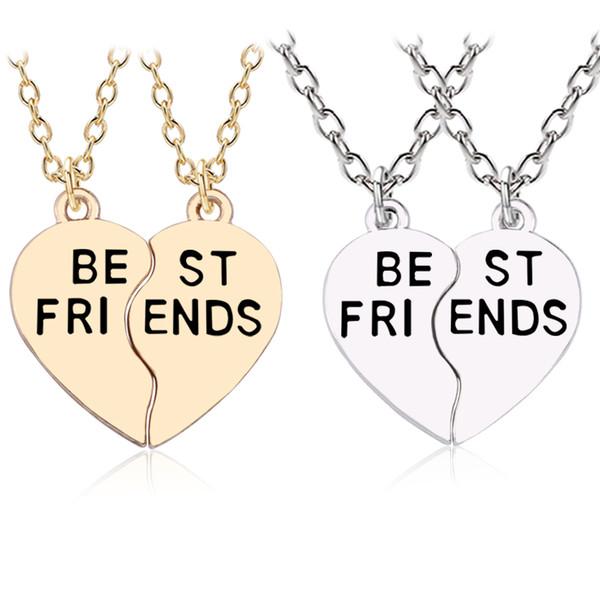 Bijoux Set Colliers Amitie Chaines Meilleur Ami Best Friend Anneaux Femme Enfant Couleur Argent
