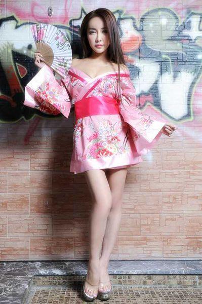 Envío gratis Nueva lencería sexy cosplay de Halloween de estilo japonés kimono impresión japonesa Rosa kimono femenino traje de tentación sexy cosplay ani