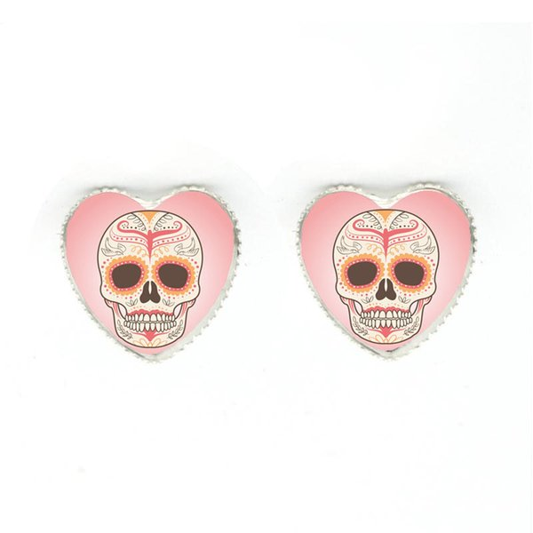 2018 Hot Selling Trendy Vintage Mexican Sugar Skull Heart Pendant Necklace Silver Color Chain Jewelry Retro Heart Jewelry Set