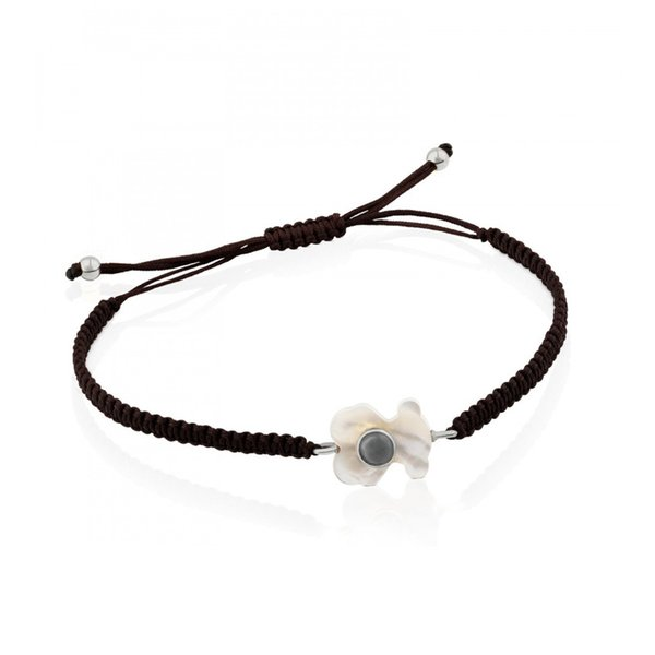 2018 Titanium Steel Pearl Shell Bear Bracelet New Black Braided Rope Women Design Adjustable Nope Bear Charm Pendant Jewelry for Women Gift