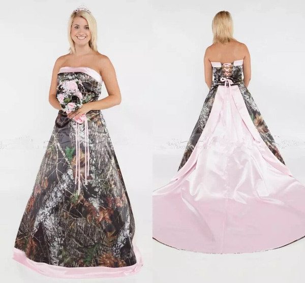 Discount Camo Wedding Dresses A Line Plus Size Pink Satin Country Bridal  Gowns Strapless Summer Wedding Gowns Lace Up Back Sweep Train Gown Wedding  ...