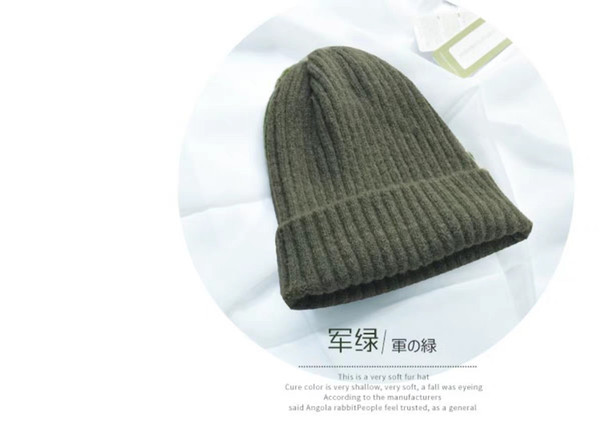 Hat women's winter Korean version of simple warm wool hat solid color entertainment knit hat candy ear protection