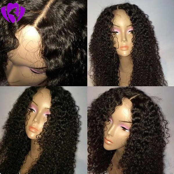 Hotselling natural soft Kinky Curly Synthetic Lace Front Wig Natural Hairline Middle Part for Women Wigs