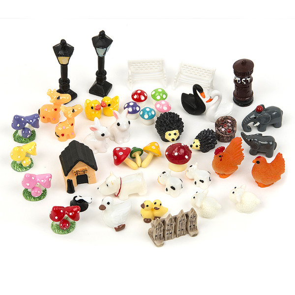 45pcs Diy Home Garden Decoration Micro Landscape Crafts Dollhouse Bonsai Figurines & Miniatures For Miniatures Fairy Garden