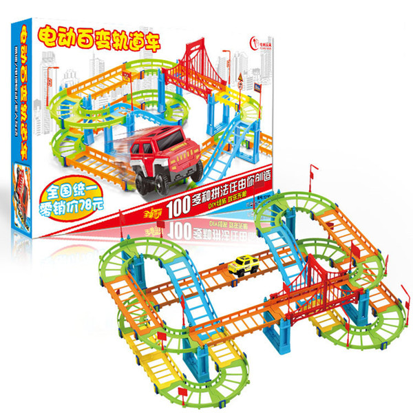 DIY Two-layer Spiral Track Roller Coaster Toy Assembly Electric Rail Car for Kids Gift Multilayer Construction Vehicles Model