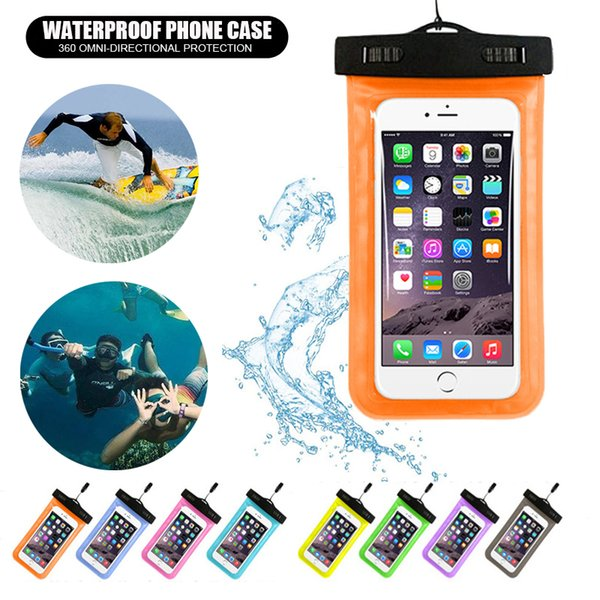 reputable site b7cf6 e931d Universal Waterproof Case Ipx8 Clear Waterproof Phone Pouch Dry Bag For  Iphone X 7 6 Plus Samsung Galaxy S8 S9 Plus Google Pixel Cell Phone Hard  Cases ...