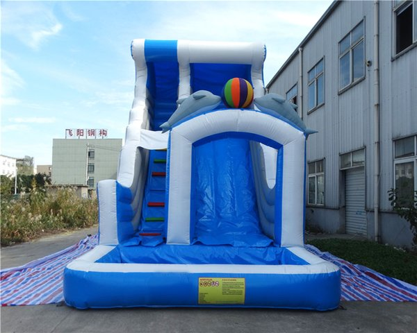 inflatable water slides kids double dolphin slide with blower free shipping for sale