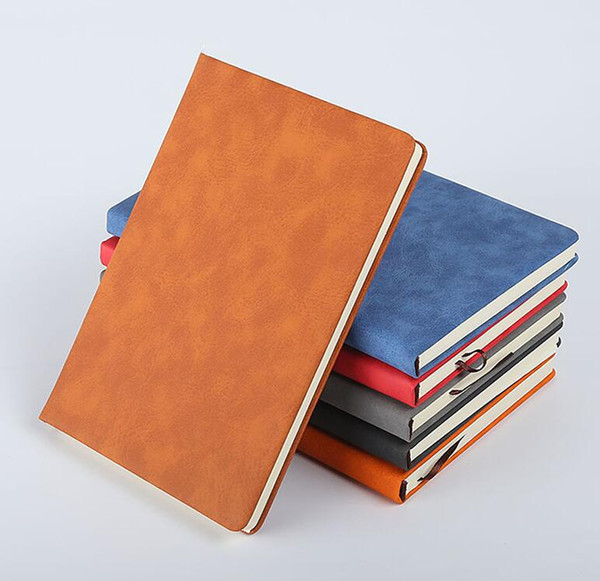 top popular A5 Classic Notebook soft PU Leather Hard Cover Diary vintage Business Notepad 200 Sheets Note Book (7 Colors) School Office Notebooks 2021