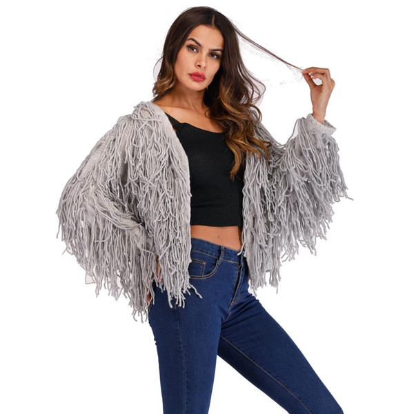 Knitted Cardigans Tassel Women Sweater Jacket Shaggy Open Stitch Soft Hairy Sweater Faux Fur Coat Female 2018 Autumn Winter
