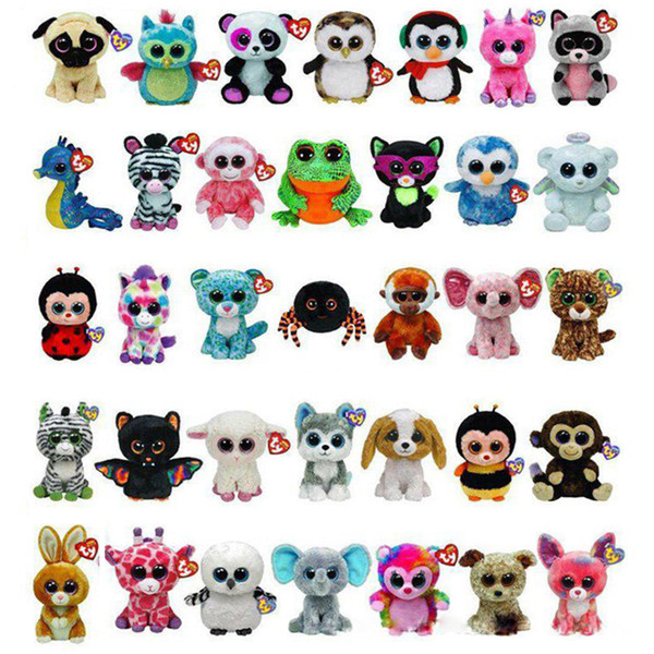 best selling 35 Design Ty Beanie Boos Plush Stuffed Toys 15cm Wholesale Big Eyes Animals Soft Dolls for Kids Birthday Gifts ty toys OTH754