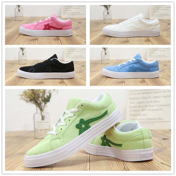 2018 Nuevo TTC X Golf Le Fleur One Suede Casual Canvas Shoes AAA + calidad All White Black Men Women Moda Sports Sneaker 36-44