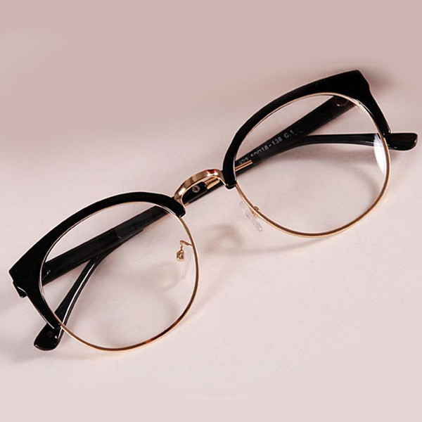 Fashion Women Metal+Plastic Semicircle Frame Glasses Anti-Radiation Goggles Plain Glass Spectacles Colorful Optical