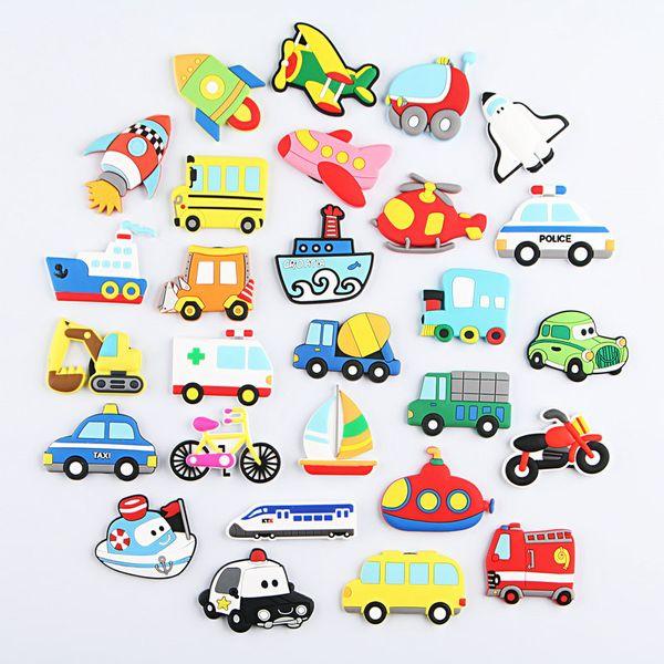 27pcs/lot Cartoon Car Plane Ship Fridge Magnet Kid Early Education Bear Animal Magnetic Key Hook For Kids Phone Case Resin Figure Sticker