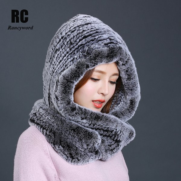 [Rancyword] Hat Women 2017 New Knitted Real Rex Rabbit Fur Hat Hooded Scarf Winter Warm Natural Fur Hat With Neck Scarves RC1319 D18103006