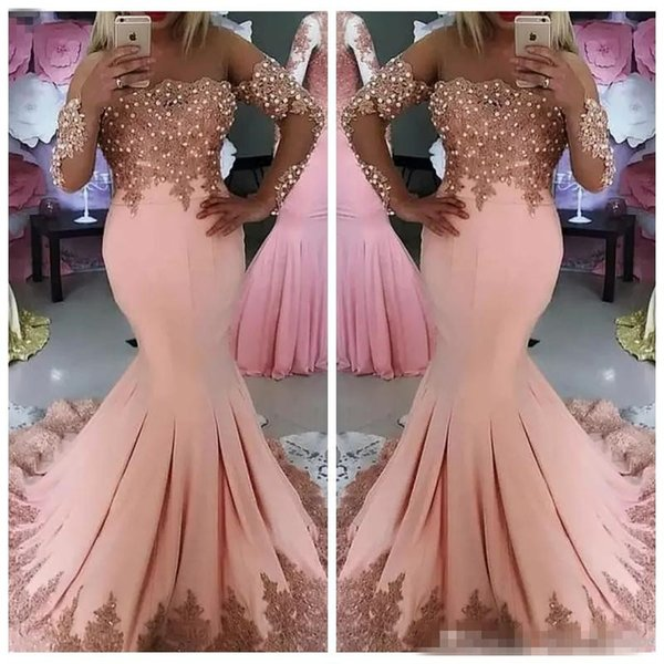 2018 Formal Middle East Bateau Neck Long Sleeves Lace Appliques Mermaid Prom Dresses Pearls Beaded Beautiful Evening Dresses Longo