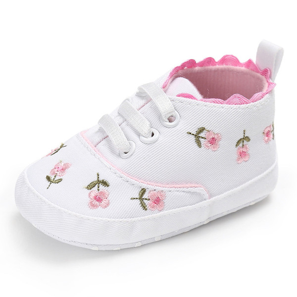 White Lace Floral Embroidered Baby Girl Shoes soft bottom Prewalker Walking Toddler Kids Shoes for 0-6 6-12 12-18 month