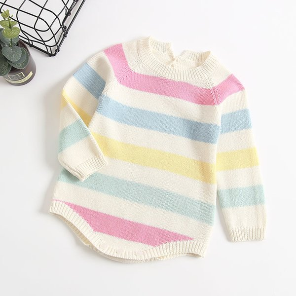 d83cd2eaf2c5 Autumn Infant Baby Stripe Knitted Rompers Boys Girls Overalls Knitwear  Sweater Romper Children Toddlers Climb Clothes Rompers 14251