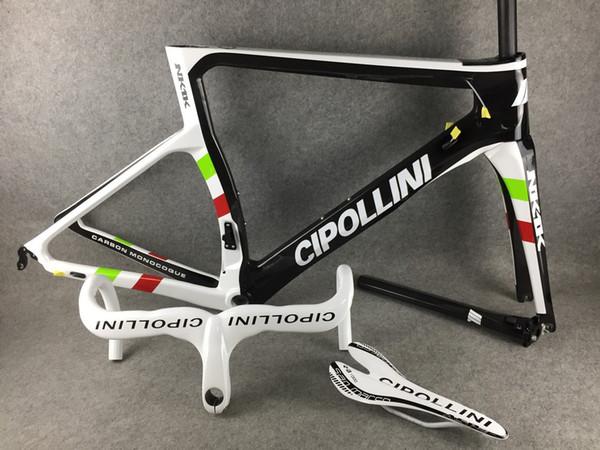 Campeão do mundo Cipollini NK1K carbono bicicleta de corrida de estrada Quadro Brilhante + Cipollini guidão de estrada de carbono + Cipollini carbono sela