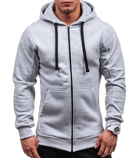 Artı Boyutu erkek Hoodies Eşofman 2018 Sonbahar Kış İpli Cep Kapüşonlu Sweatshirt Uzun Kollu Zip İnce Coat Erkek Ceket