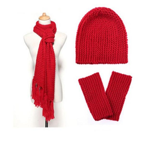 New Winter Scarf Set Outdoor Warm Hat Beanie Thick Scarf Gloves Set Ladies Autumn Winter Wool Hat Gloves Three-piece