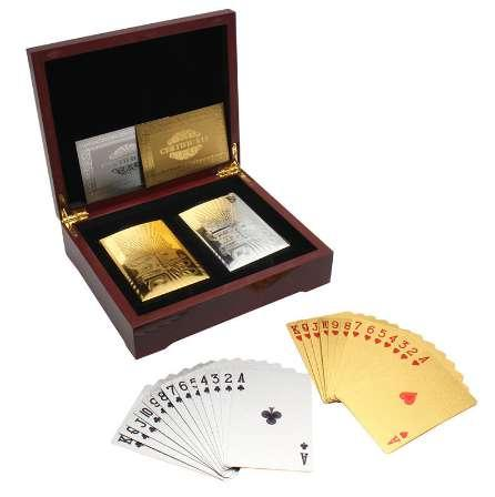 Hot Sale 24K Gold & Silver Foil Playing Cards Set with Brown Collection Box Casino Board Game Poker Best Gifts For Card Lover