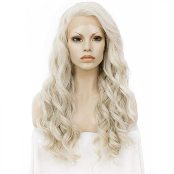 180% Density Long Wavy Honey Ash Blonde Wig Lace Front Wigs For Women Synthetic Wig Heat Resistant Fiber 24 Inch Lace Wig Cosplay