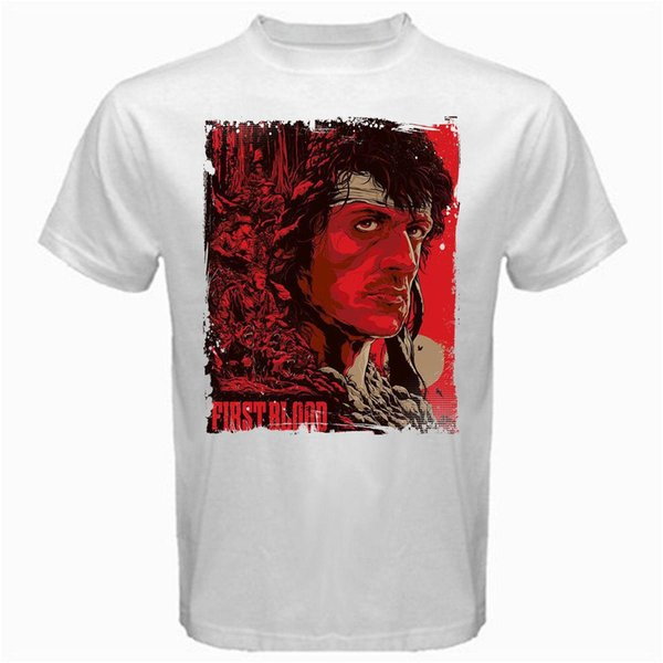 Rambo red sylvester first blood movie vintage eighties retro Tshirt White Mens 2018 fashion Brand T Shirt O-Neck