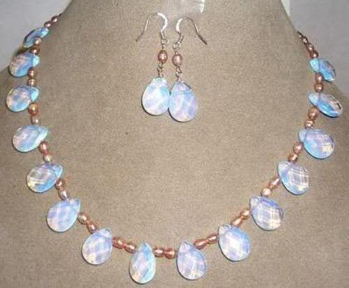 Pink pearl /Sri Lanka Moonstone drops pendant necklace Earrings set