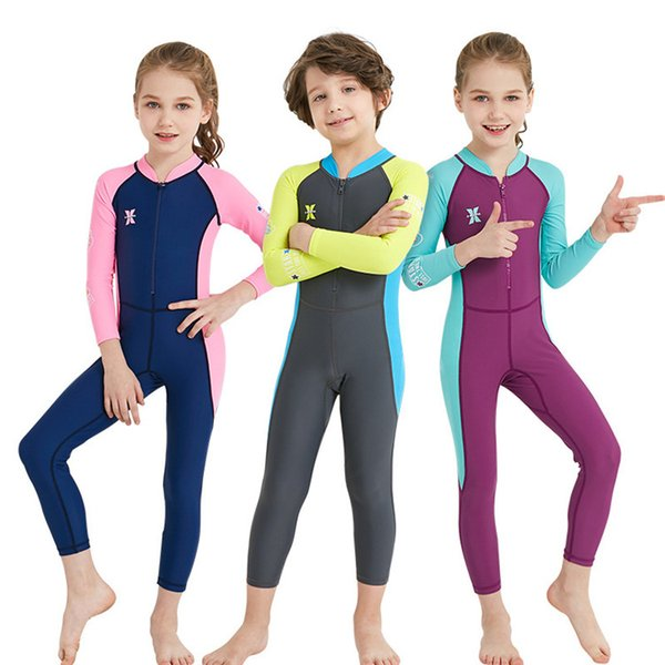 best selling Children's wetsuit Siamese Lycra sun protection clothing boys and girls long-sleeved snorkeling speed jellyfish swimsuit DHL freeshipping