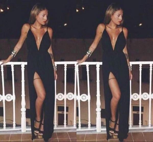 Free Shipping 2018 Sexy Deep V-Neck Formal Evening Dress Elegant Spaghetti Sleeveless Said Split A-Line Party Prom Dress