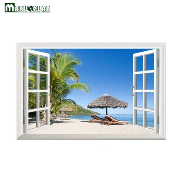 Maruoxuan 3D Strand Kokospalme Bower Fenster Wandaufkleber Home Schlafzimmer Wohnzimmer Sofa Hintergrund Wand Dekoration Tapete