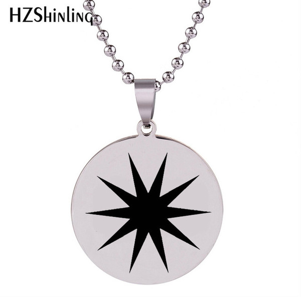 2018 New Star Burst Necklace Star Stainless Steel Pendant Round Necklaces Silver Art Jewelry Ball Chain Gifts For Men