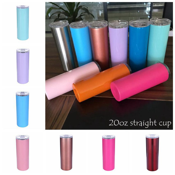 best selling 20oz Stainless Steel Skinny Tumbler Vacuum Insulated Straight Cup Beer Coffee Mug Glasses with Lids and Straws CCA10386 50pcs