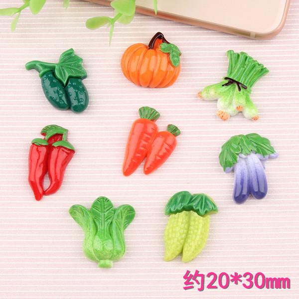Mix Simulação legumes alimentos resina encantos flatback kawaii cabochão DIY materiais crianças acessórios de jóias por atacado