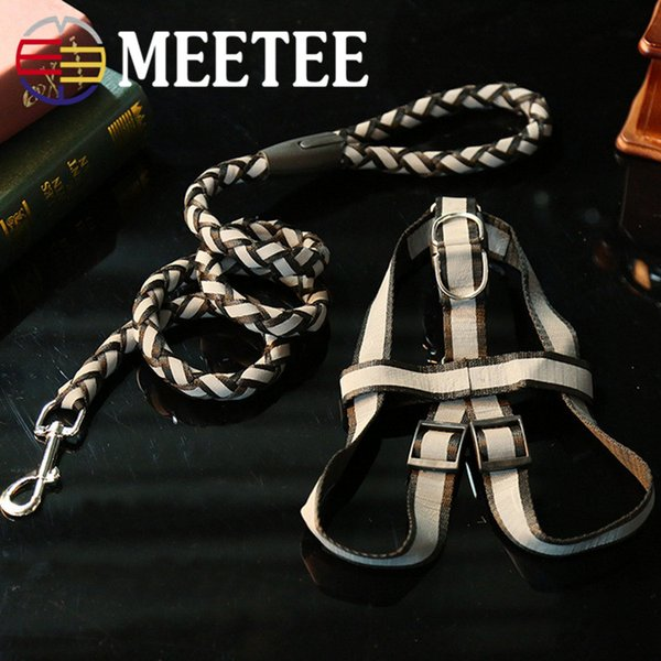 MEETEE 2018 NEW PET Dog reflective chest back plus leash Dark night out chest strap.DC-413