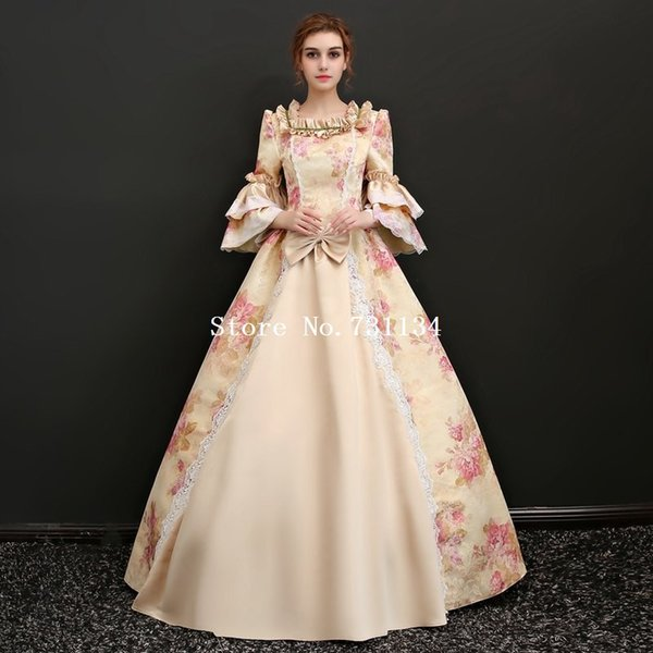Robe de soirée victorienne imprimée haut de gamme robe de soirée 17ème 18ème siècle théâtre scène femmes costumes