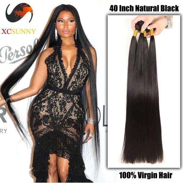 best selling XCSUNNYHAIR Wholesale 30 32 34 36 38 40 inch Super Long 9A Straight 100% Brazilian Virgin Hair Weave Human Hair Extensions