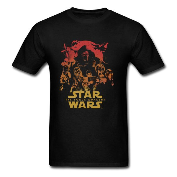 Force Awakens Poster Thanksgiving Day Pure Coon Crew Neck Tops Camicie Magliette alla moda Nuove t-shirt