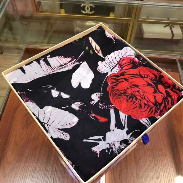 Fashion Printed Flowers Cashmere Scarf Wrap Shawl women luxury designer Scarf Winter Warm Scarf Pashmina New