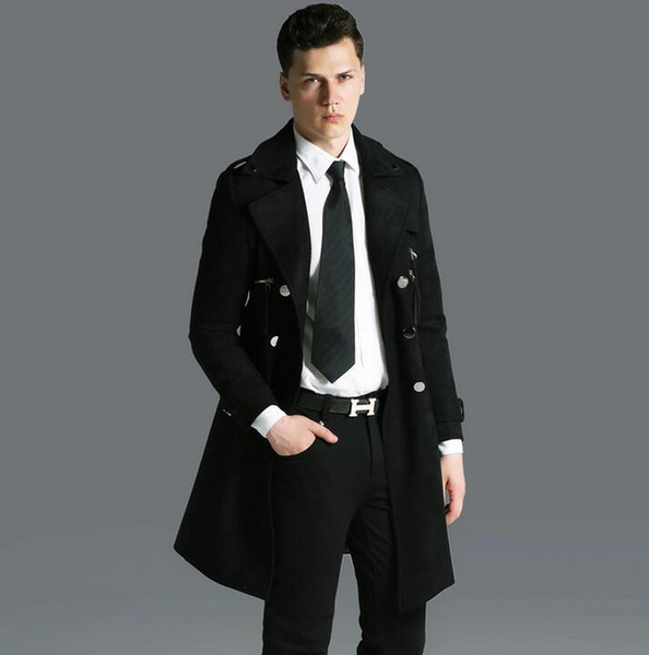 Deerskin cashmere trench coat mens medium-long coats 2017 double breasted overcoat mens plus size long-sleeve jacket black 6XL