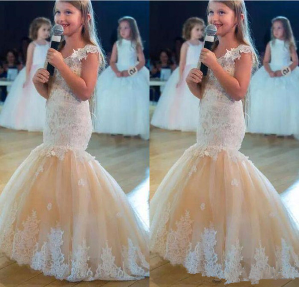 2019 lovely Champagne mermaid Flower Girls Dresses princess For Weddings Ivory lace puffy tulle Birthday Girl Communion Pageant Gown