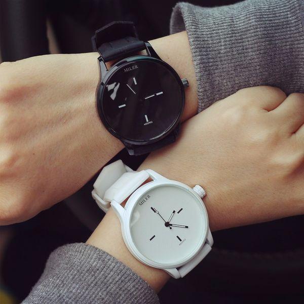 Miler marca clásico reloj de silicona hombres mujeres relojes amantes de la moda para hombre simple reloj para mujer relojes Saat Relogio Reloj