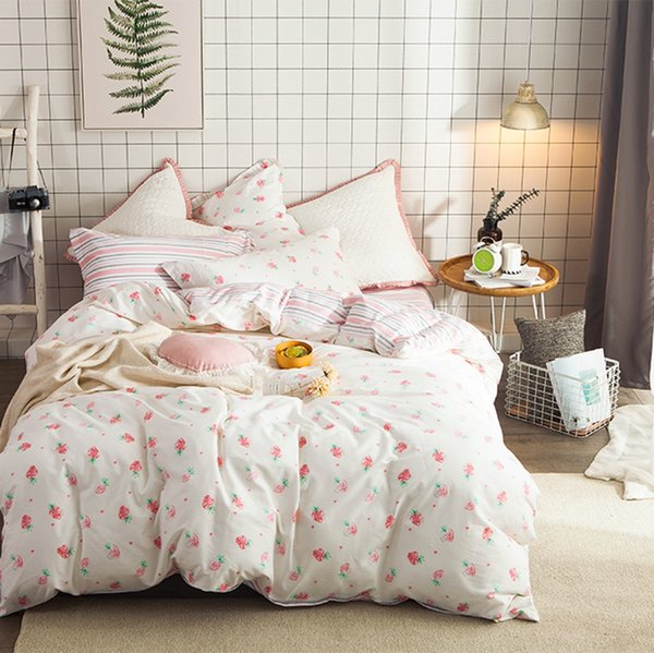 8ec2fedead Cute Strawberry Duvet Cover Set 100% Coon Sweet Stripes Bed Sheet Pillow  Case Queen Size